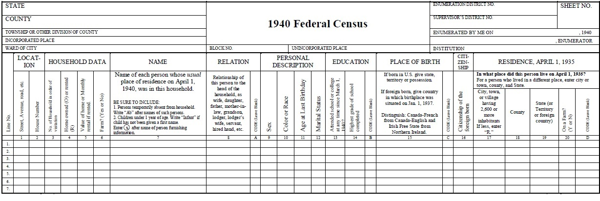 1940 census, general information   national archives.